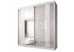 MULTI 32, skříň s posuvnými dveřmi 183cm, bílá / dub kathult světlý