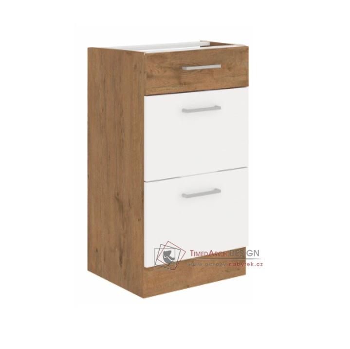 Dolní kuchyňská skříňka VEGA D40 3S BB dub lancelot / bílá extra vysoký lesk HG