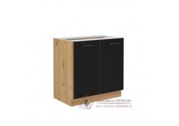 MONROVIA, dolní skříňka 2-dveřová 80 D 2F BB, dub artisan / černý mat