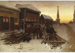 Slavné obrazy VI-121 Vasilij Perov - Poslední hostinec ve vesnici