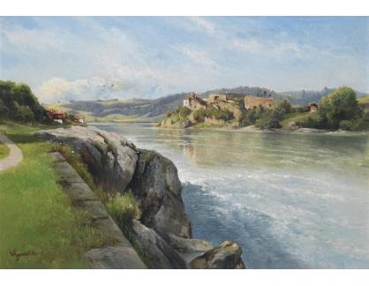 Slavné obrazy XIII-102 Karl Haunold - Zřícenina hradu na břehu řeky