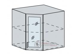 CHARLIZE, horní vitrína rohová 60HRS, bílá / bílé dřevo