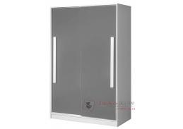 GULLIWER 12, šatní skříň s posuvnými dveřmi 120cm, bílá / šedý lesk / bílá
