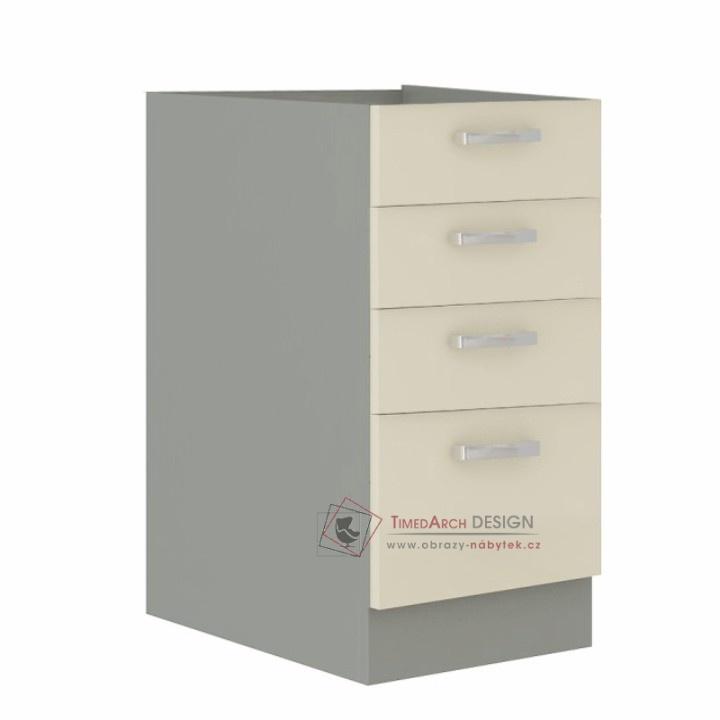 Dolní skříňka PRADO 40 D 4S BB šedá / vysoký lesk krémový