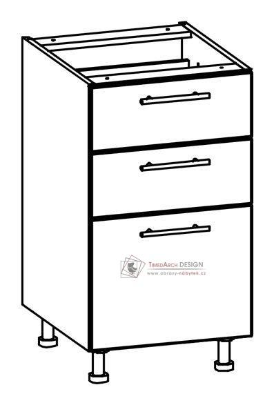 TIFFANY, kuchyňská dolní skříňka T17/D45S3 bílá / bílý lesk