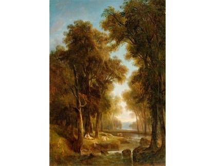 Slavné obrazy I-DDSO-15 Alexandre Calame - Krajina s pastýřem a krávami u potoka
