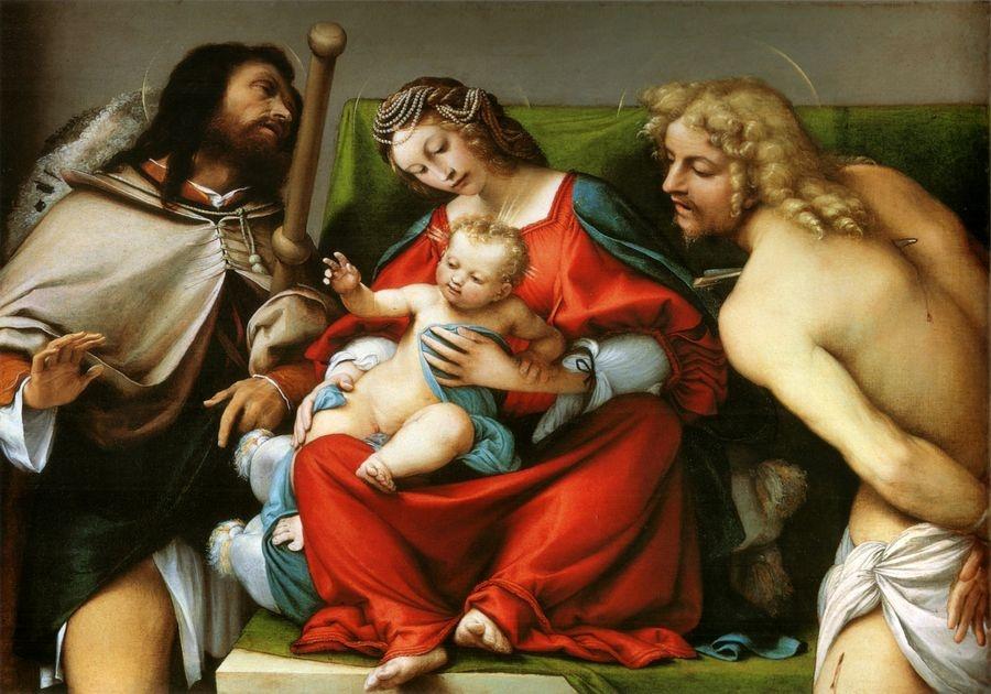 VLL 2 Lorenzo Lotto - Madonna se svatými Rochusem a Sebestiánem