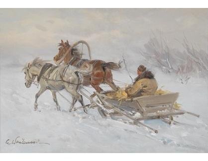 Slavné obrazy XVI-434 Czeslaw Wasilewski - Jízda na saních v zimě