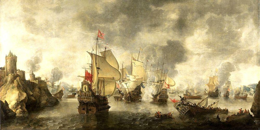 Obraz panorama DDSO-2424 Abraham Beerstraten - Bitva benátského a nizozemské loďstva proti Turkům v Bay Foja, 1649
