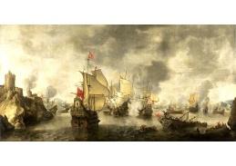 DDSO-2424 Abraham Beerstraten - Bitva benátského a nizozemské loďstva proti Turkům v Bay Foja, 1649