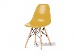 CT-758 YEL, jídelní židle, buk / plast žlutý