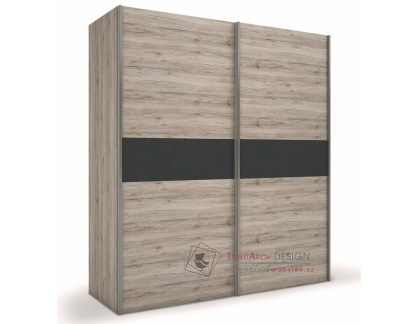 Šatní skříň s posuvnými dveřmi 180cm ROMA dub wellington / šedá antracit