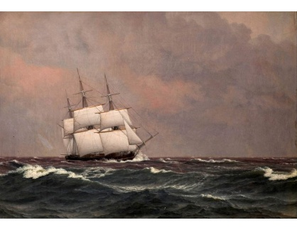 VL364 Christoffer Wilhelm Eckersberg - Korveta Najaden v rozbouřeném moři