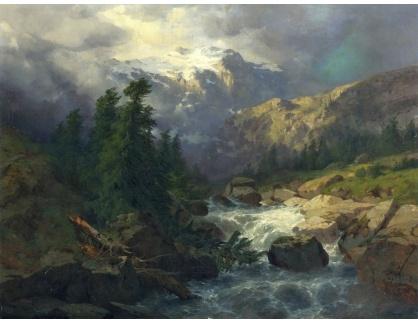 KO III-18 Alexandre Calame - Handeck, bouřlivé počasí