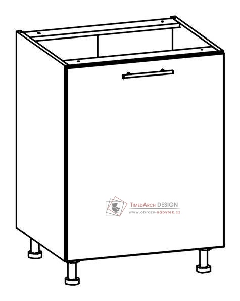TIFFANY, kuchyňská dolní skříňka T19/D60 bílá / bílý lesk