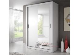 ARTI 04, šatní skříň s posuvnými dveřmi 150cm, bílá / zrcadlo