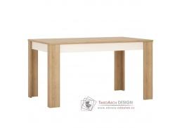 LEONARDO LYOT03, jídelní stůl rozkládací, dub riviera / bílý lesk