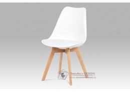 CT-752 WT, jídelní židle, buk / plast + koženka bílá