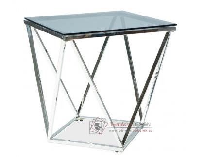 Konferenční stolek 50x50x53cm SILVER B chrom / kouřové sklo