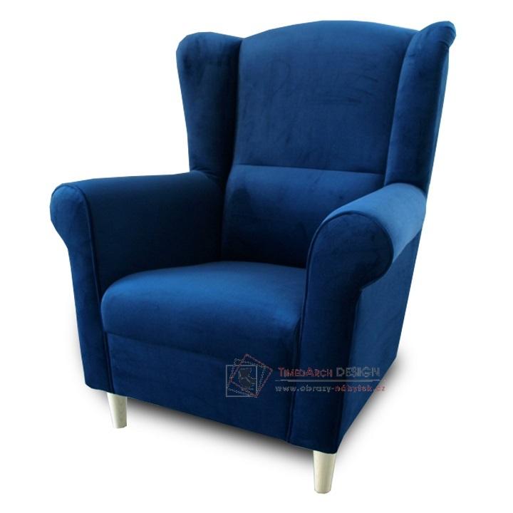 Křeslo - ušák CHARLOT látka modrá