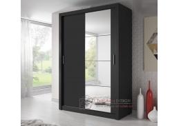 ARTI 04, šatní skříň s posuvnými dveřmi 150cm, černá / zrcadlo