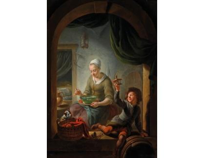 Slavné obrazy I-DDSO-263 Louis de Moni - Mladá žena a chlapec s pasti na myši