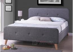 Čalouněná postel 140x200cm MALMO látka šedá