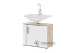 LESSY LI 02, koupelnová skříňka pod umyvadlo, dub sonoma / bílý lesk