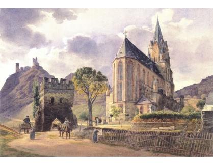 VALT 17 Jacob Alt - Zámek Schönburg a kostel Panny Marie v Oberwesel na Rýně