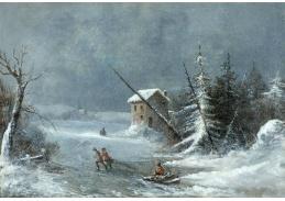 Slavné obrazy XI-1 Cornelius Krieghoff - Vánice