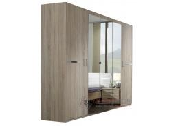 AMÁLIE 566, šatní skříň 5-ti dveřová 225cm, dub / zrcadla