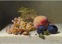 A-1321 Emilie Preyer - Zátiší s ovocem s hrozny, lískovými ořechy, broskvemi a švestkami