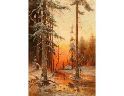Slavné obrazy I-DDSO-248 Julius Klever - Západ slunce v zimě