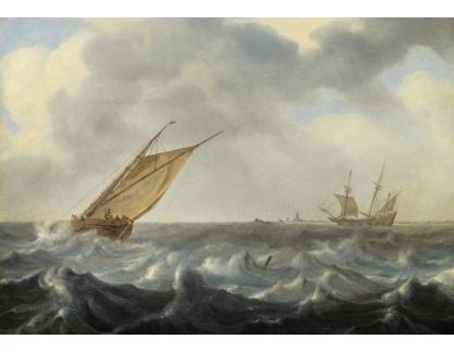 Slavné obrazy XVI-266 Arnoldus van Anthonissen - Rybářské lodě v rozbouřených vodách u pobřeží