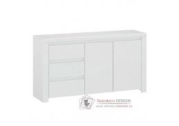 LINDY, komoda 2-dveřová se 3-mi zásuvkami 2D3S, bílá / bílý lesk