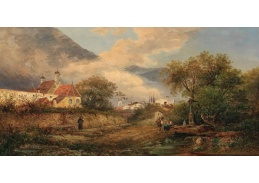 D-6556 Gustav Barbarini - U fontány před vesnicí v Langlois