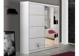 Šatní skříň s posuvnými dveřmi 150cm VISTA bílá / zrcadlo