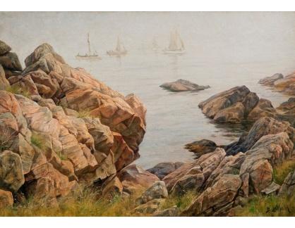 Slavné obrazy XVI-316 Berndt Lindholm - Rybářské lodě v ranní mlze