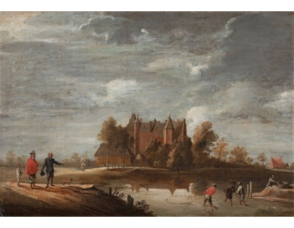 Slavné obrazy XVI-447 David Teniers - Kostel v Belgii