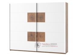 LIVORNO 72, šatní skříň s posuvnými dveřmi 270cm, dub wotan / bílá