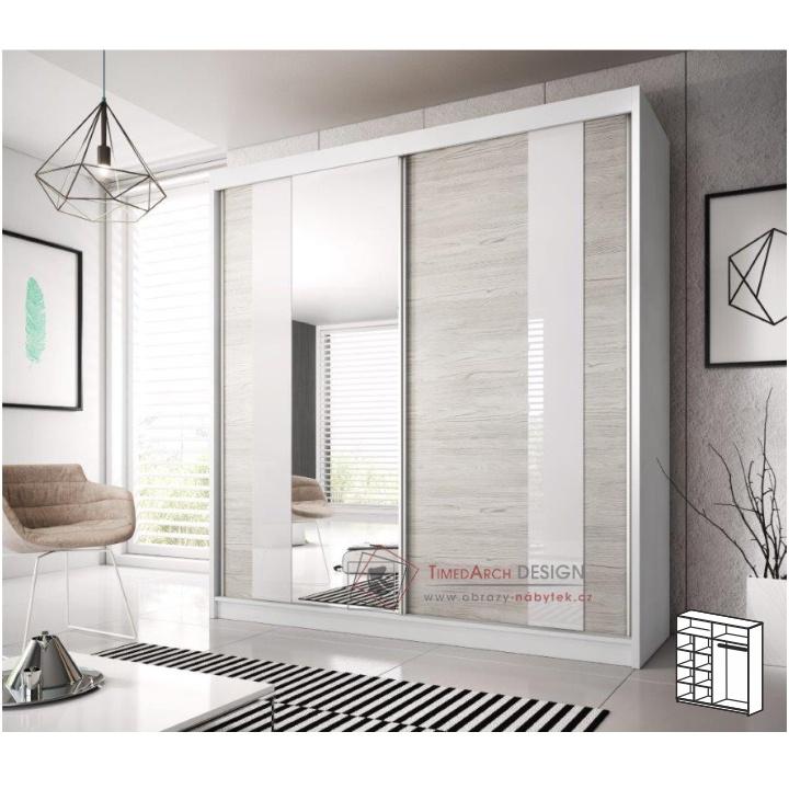 Skříň s posuvnými dveřmi 203cm MULTI 32 bílá / dub kathult světlý