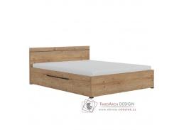 UTAH, postel 160x200cm, dub grandson zlatá / šedá