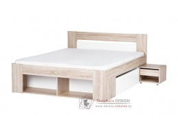 MILO, postel s nočními stolky 140x200cm, dub sonoma / bílá