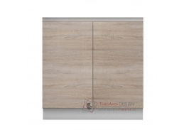 LINE, dolní skříňka 2-dveřová D80, bílá / dub sonoma