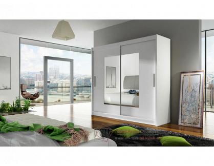 BEGGA VII, šatní skříň s posuvnými dveřmi 180cm, bílá / zrcadla