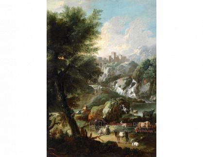 VN-309 Johann Melchior Roos - Krajinomalba s hradem, vodopádem a stádem dobytka