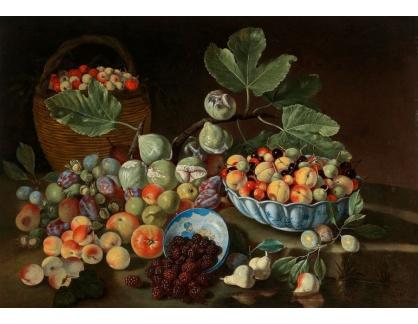 Slavné obrazy IX DDSO-649 Giuseppe Ruoppolo - Zátiší s broskví, fíků a ostružin