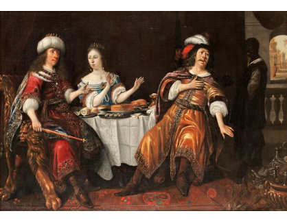 Slavné obrazy XVI-187 Anthonie Palamedesz - Scéna s Esther, Hamanem a Asverusem