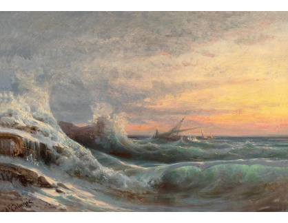 Slavné obrazy XVI-268 Arthur Calame - Bouře na moři