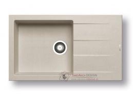 ATHLOS 1B 1D PLUS, pyragranitový dřez 86x50cm, beige